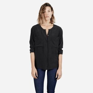 Everlane Faded Black /Gray Silk Long Sleeve Top